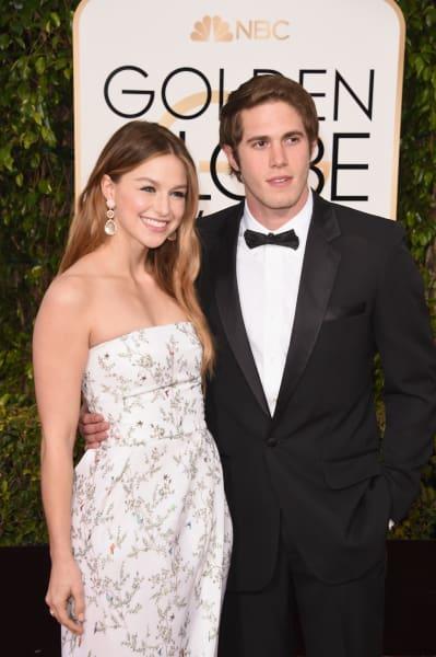 Melissa Benoist and Blake Jenner at the Globes