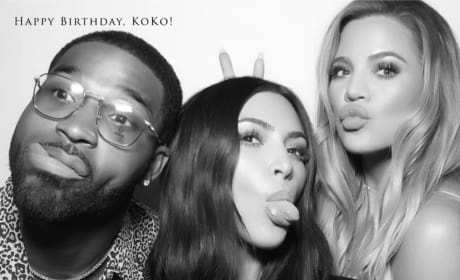 Kim Kardashian, Khloe Kardashian and Tristan Thompson