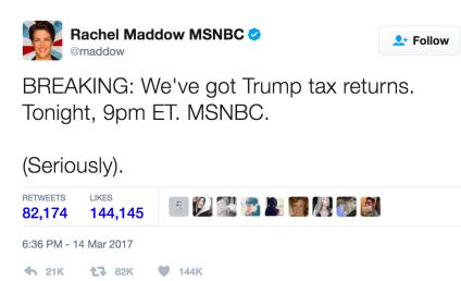 Rachel Maddow Reveals Donald Trump Tax Return, Twitter Loses Its Mind