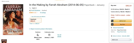 "Farrah Abraham ""in the making"" novel price tag on amazon"