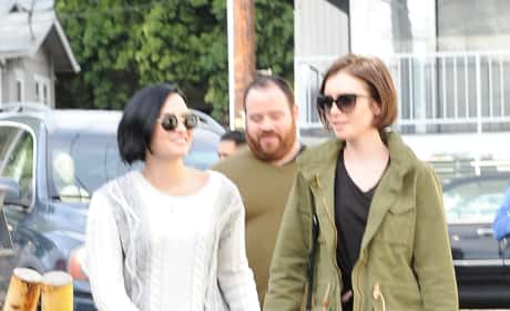 Lily Collins & Demi Lovato Lunch at La Conversation