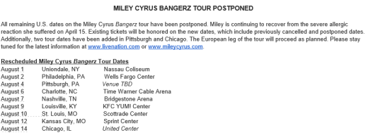 Miley tour update