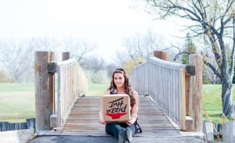 Woman Takes Professional Engagement Photos with Box of Pizza