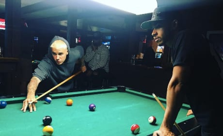 Justin Bieber plays pool