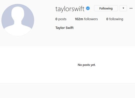 Taylor Swift, Blank Instagram