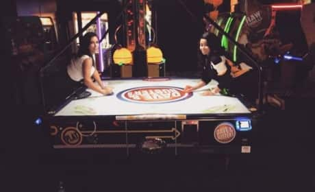 Kim Kardashian and Blac Chyna Play Air Hockey