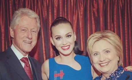 Katy Perry with Bill and Hillary Clinton