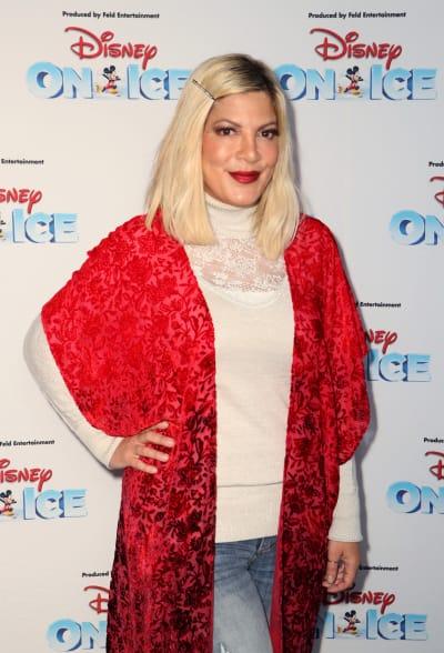 Tori Spelling in a Red Sweater