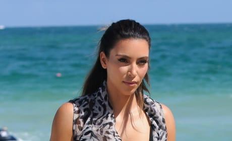 Kim Kardashian on the Beach