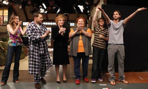 Ashton Kutcher on Two and a Half Men Set