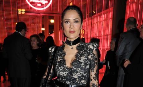 Salma Hayek's lace dress is ...