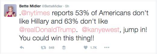 Bette Midler tweets to Kanye