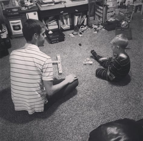Derick Dillard Playing with Son