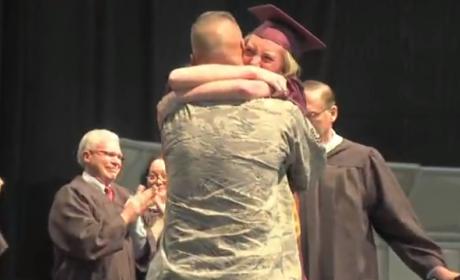 Deployed Dad Surprises Daughter at Graduation