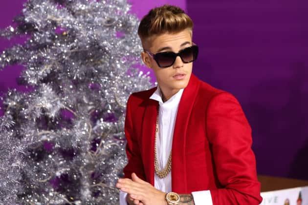 Justin Bieber in a Red Coat