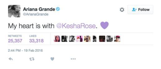 Ariana Grande tweets support to Kesha
