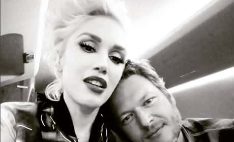 Gwen Stefani Cuddles Up To Blake Shelton On Plane