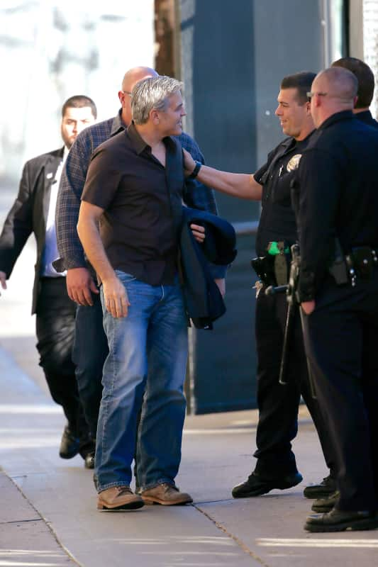 George Clooney Chats With Police Outside Jimmy Kimmel Live!