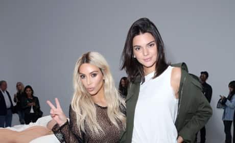 Kim Kardashian & Kendall Jenner Posing at Art Show