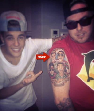 Justin Bieber and a Justin Bieber Tattoo