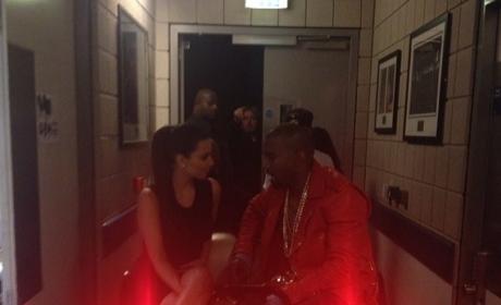 Kim Kardashian and Kanye West Backstage