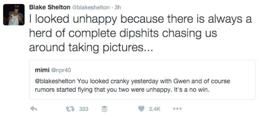 Blake Shelton Tweet - Paparazzi Feb 2016