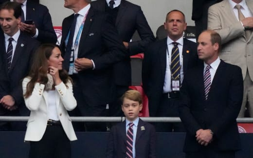 Will, Kate, and George at the Footie