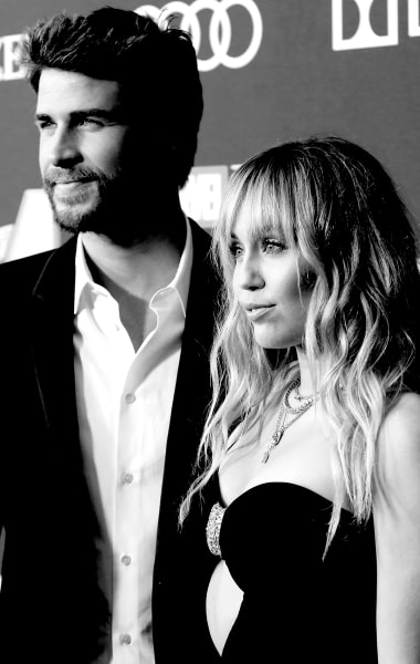 Miley Cyrus and Liam Hemsworth in Black, White