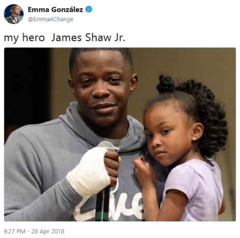 Emma Gonzales Tweets About James Shaw Jr.