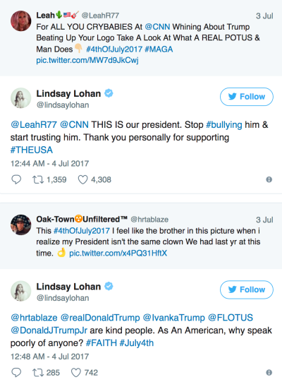 Lindsay Lohan tweets