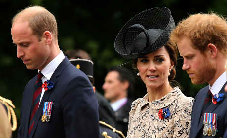 Prince William Kate Middleton Prince Harry 100th Anniversary River Somme Battle