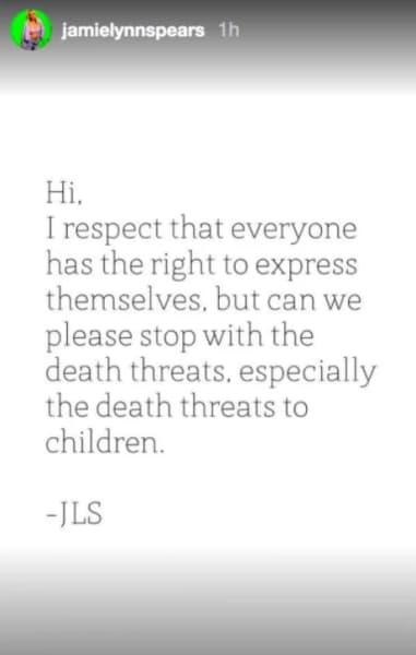 Jamie Lynn Spears IG 2 July 2021 stop the death threats