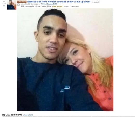 Rebecca Parrott and Moroccan ex-husband on reddit