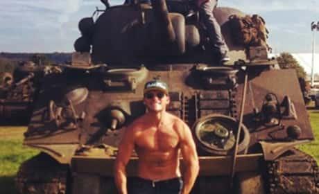 Scott Eastwood Shirtless on Set