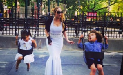 Mariah Carey Wears Ball Gown on Swings, Plays with Kids
