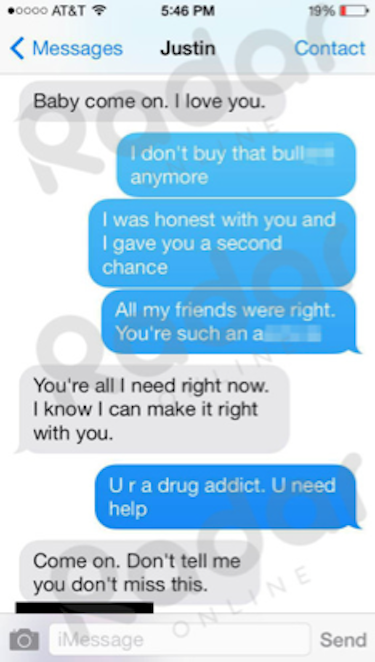 Justin Bieber-Selena Gomez Text #1