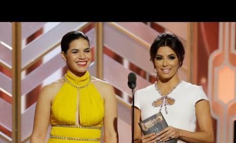 Eva Longoria and America Ferrera Present at the Golden Globes