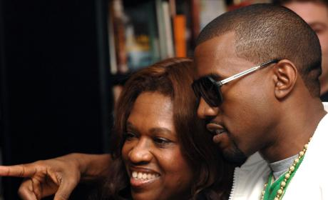 Kanye West and Mom Donda at Waterstones Bookstore in London