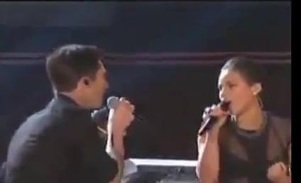 "Adam Levine, Alicia Keys Perform ""Girl on Fire"" at Grammy Awards"