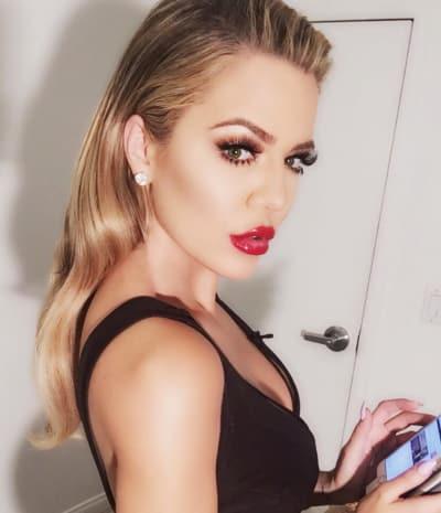 Khloe Kardashian with Lipstick