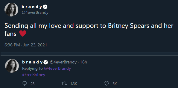 Brandy Nummer Freebritney Tweet 23. Juni 2021