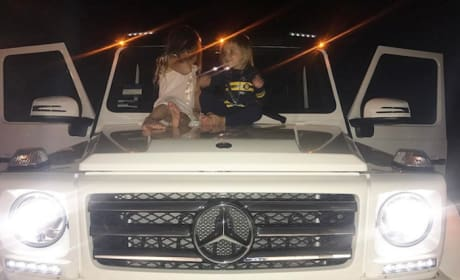 Kourtney Kardashian Kids on a Car