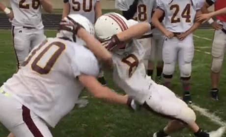 High School Football Player Hits Teammate with RKO