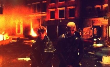 Chris Brown and Justin Bieber on Set