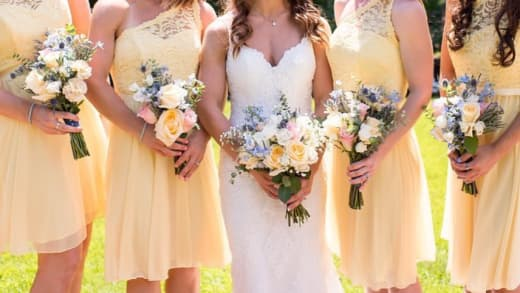 wedding photo with yellow bridesmaid dresses from IG 01