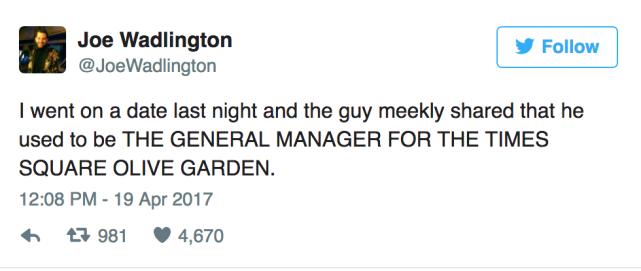 Man Goes on Date with Olive Garden Manager Reveals Stunning