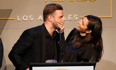 Jessica Biel Puts Hand Over Justin Timberlake's Mouth Pic