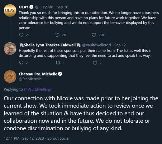 Olay Twitter, Chateau Ste.  Michelle tweet - vs Nicole Franzel