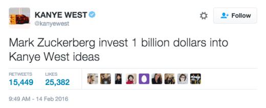 Kanye Zuckerberg tweet