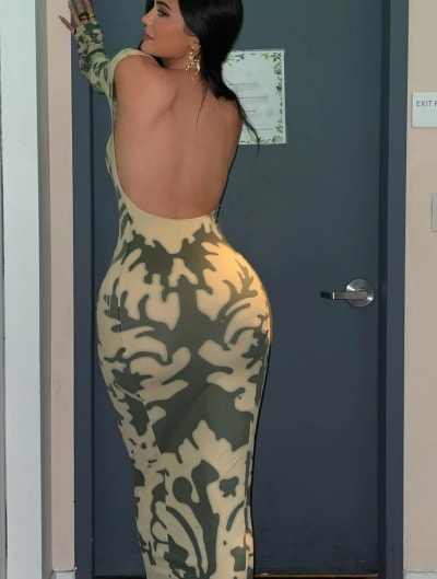 Kylie is wearing a tight dress